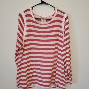 Red and white stripe lace top